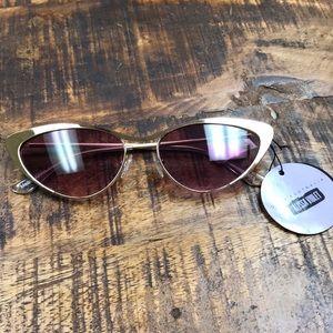 Quay Boss Purple Brushed Gold Cat Eye Sunglasses